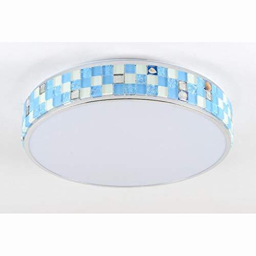 T-D Led Einfache Deckenleuchte Schlafzimmer Lampe Kinderzimmer Runde Kristall Lampe Blau DREI-Ton Licht Wohnzimmer, Deckenleuchte 2, 40 * 11 cm 18w -