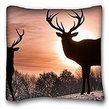 My Honey Pillow Pillow Cover Deer Silhouette S Shadow Nature Walk 18 * 18 Twin Sides
