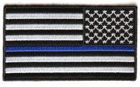 Applikation Aufbügler Patches Stick Emblem Aufnäher Abzeichen ,,Thin Blue Line American Flag Reversed-Patch - 3.5x2     Zoll,, (Flag American Stick)