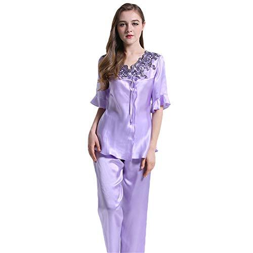 Damen 100 Seide lässig Pyjama Set Short Pyjamas Lace Neck Damen 2Pcs Reine Maulbeerseide Charmeuse Freizeit, lila,M -