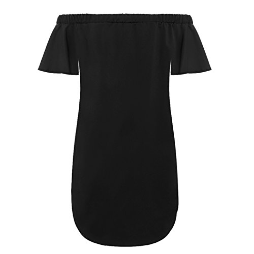 MIOIM®Robe De L'ourlet En Vrac Irrégulier Manches Trompette Collier Bustier Broderie Appliques Sexy Noir