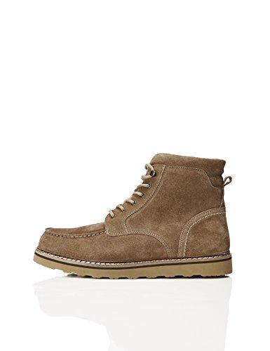 FIND Herren Stiefel mit Rauleder, Beige (Dark Taupe), 44 EU (Schuhe Beige Leder)