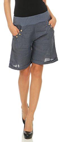 Malito Damen Bermuda aus Leinen | Shorts für Den Strand | Lässige Kurze Hose | Pants - Hotpants 6826 (Blau, M)
