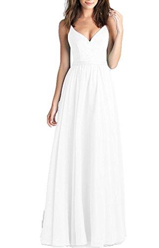 DreamyDesign Damen Elegant Chiffon Brautjungfernkleid Spaghetti Träger V-Ausschnitt Abiballkleid Rückenfrei LangDE34 Weiß (Low Weißes High Brautkleid)