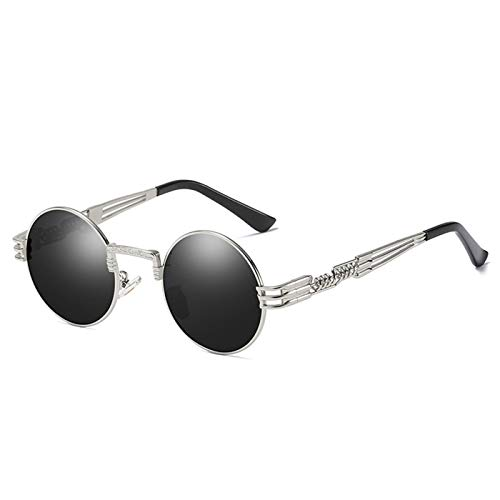 Daawqee Vintage Steampunk Glasses Men Polarized Gothic Steam Punk Sunglasses Women Round CIRCLE Spectacles Unisex OCULOS C2 Silver Black