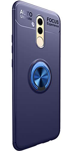 Tianqin Huawei Mate 20 Lite Cover, Ultra Sottile Leggera TPU Antiurto Protectionn Stealth Anello Fibbia Compatibile Supporto Magnetico Auto para Huawei Mate 20 Lite (Blu)