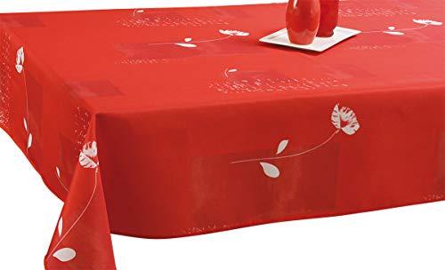 Le linge de Jules Nappe Anti-Taches Coquelicot Rouge - Taille : Carrée 180x180 cm
