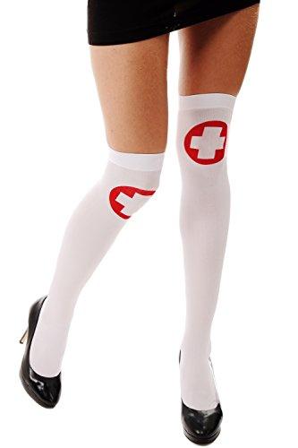 Halloween Strümpfe Overknees Krankenschwester Rotes Kreuz Z165 (Halloween Strumpfe)