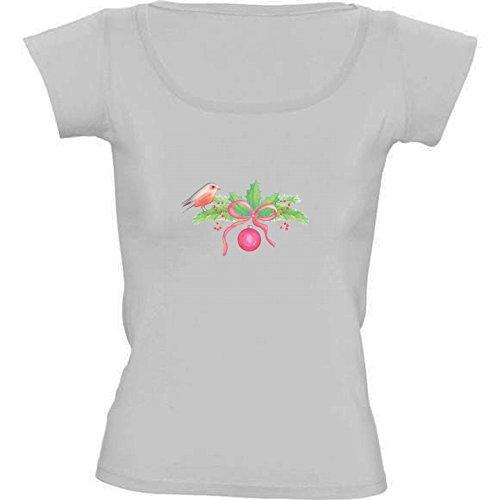 T-shirt Bianco Girocollo Donne - Taglia M - Acquarello Di Natale Bouquet by Petra