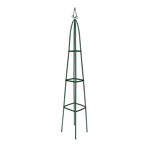 Relaxdays Rankturm Metall 190 cm, freistehende Rankhilfe für Kletterpflanzen, Ranksäule für Garten und Balkon, grün