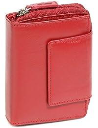 Portefeuille avec compartiment à fermeture éclair LEAS, cuir véritable, rouge - ''LEAS Zipper-Collection''