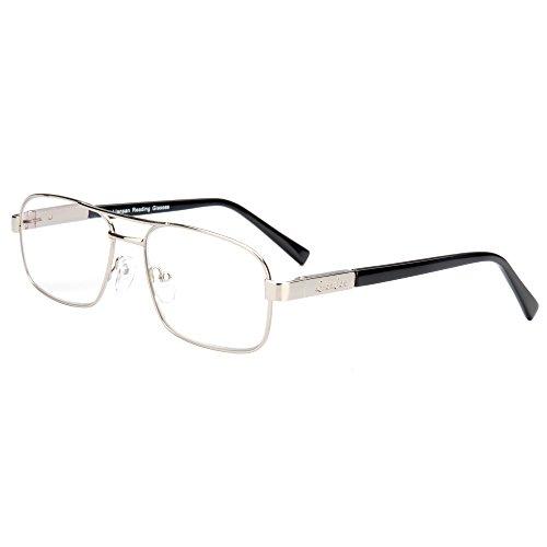 Liansan Unisex Reading Glasses Men Women's Readers Glasses Metal Frame Eyeglasses L7299 (Silver,300) by LianSan