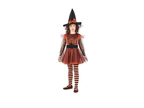 Spinnen Hexe Kostüm Kinder 2tlg. Samtkleid mit Hexenhut kupfer schwarz - 5/7 Jahre (Kindes Spinne Halloween Kostüm)