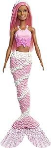 Barbie Dreamtopia - Muñeca Sirena con pelo y top rosa (Mattel FXT10)