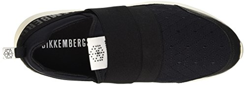 Bikkembergs Speed 582 L.Shoe M Elastic/Lycra, Pompes à Plateforme Plate Homme Noir (Black/Origami Embroidery)