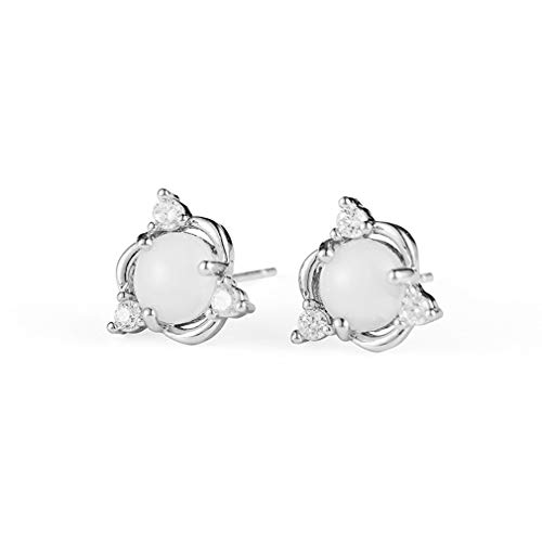 WEIHEEE Künstliche Zirkon Ohrringe Süßes Weißes Ei Gesicht Ohrringe Kreative Kleine Ohrringe Zubehör für Weibliches Geburtstagsgeschenk, Silber