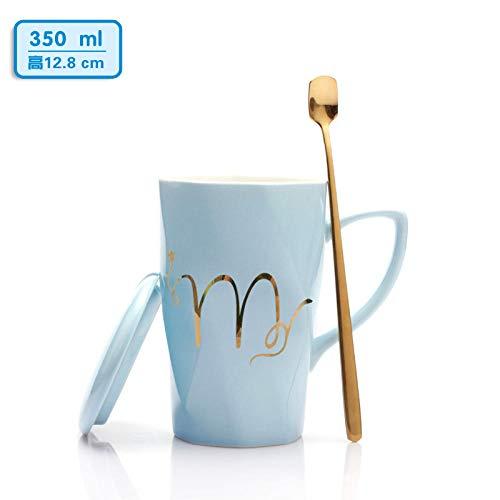 Teacup Cup_European Paar Keramische Kaffeetasse Mit Deckel Student Geschenknetz Red Cup Thread Blue Mr.-400Ml Thread-blue Tee