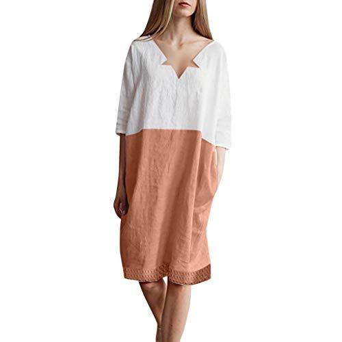 UYSDF Damen Knielanges Kleid,Beiläufig Patchwork Halbarm Patchwork Kleid Mit Taschen,Kleider Damen Sommer 2019