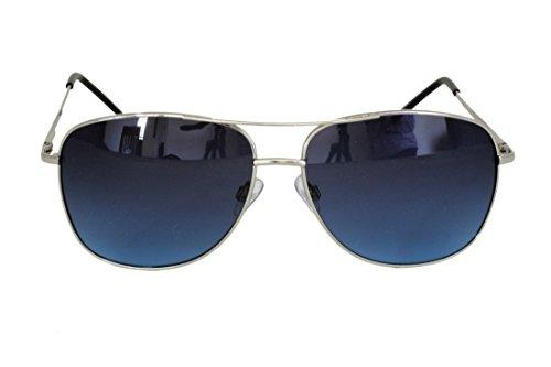 Foster Grant STEM13225 FG121 Herren Pilot Form, Full-Frame-Sonnenbrille Silber Metallrahmen & Arme UV400 Blue Gradient Objektive 100% UV-Schutz CAT 2