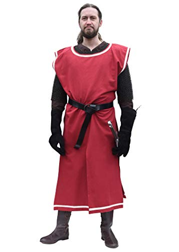 Kostüm Mittelalterliche Soldat - Battle-Merchant Waffenrock Wappenrock Eckhart einfarbig/schachbrett S-XXL div Farben Ritter Mittelalter Kostüm (S/L, Rot/Natur)
