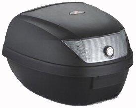 Topcase Koffer 28 Liter, schwarz, Reflektor grau, inklusive Halteplatte