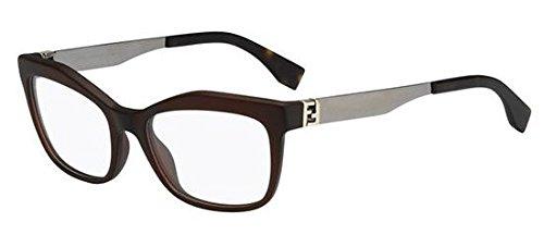 Fendi - THE FENDISTA FF 0050, Rechteckig, Optyl, Damenbrillen, DARK BROWN RUTHENIUM(MOJ), 53/18/140