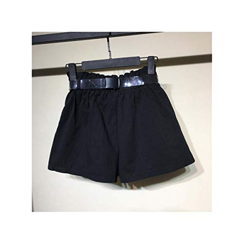 Women Summer Smock Belts High Waist Shorts Sexy Silky Solid Beach Casual Loose Shorts Elastic Waist Wide Leg Pockets Short Black One Size -