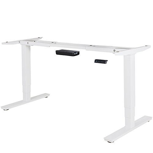 FineBuy elektrisch höhenverstellbares Tischgestell weiß Gestell mit Memory Funktion   Schreibtischgestell stufenlos höhenverstellbar von 63-128 cm