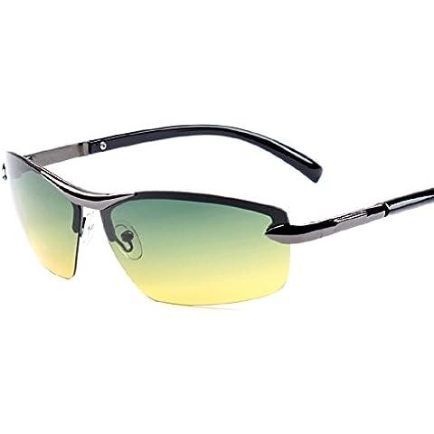 ZWX Occhiali per visione notturna maschile/Guida speciali occhiali da sole/Guida diurna e notturna occhiali unisex-A
