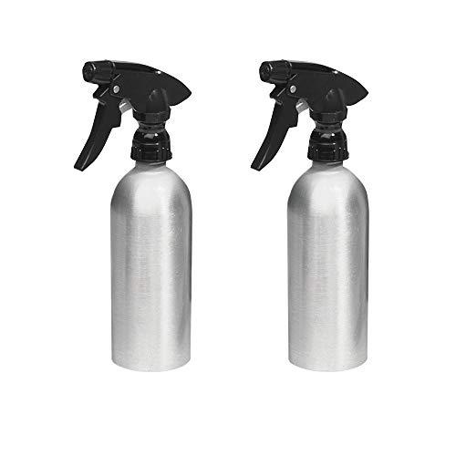 mDesign Pulverizador de agua vacío (juego de 2) – Rociadores de agua recargables de aluminio para la casa y el jardín – Perfecto como pulverizador para regar plantas – Color: plateado/negro