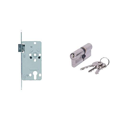 ABUS Tür-Einsteckschloss Profilzylinder TKZ20 R S, für DIN-rechts Türen, silber 21039 &...