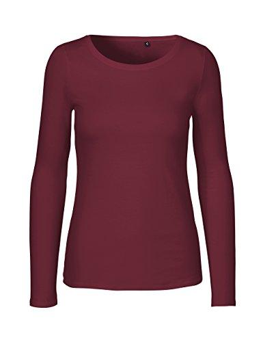 Green Cat- Damen Langarmshirt, 100% Bio-Baumwolle. Fairtrade, Oeko-Tex und Ecolabel Zertifiziert, Textilfarbe: Bordeaux, Gr. M