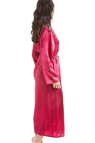 Damen Morgenmantel aus edlem Satin - Fuchsia Pink