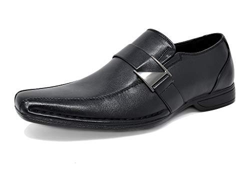 Bruno Marc Giorgio-3 Hombre Mocasines de Vestir Flexibles Cómodos Zapatos Negro 41.5 EU/8.5 US