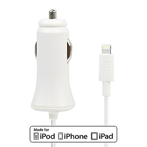 Lighting KFZ-Ladegerät, EZOPower Apple MFI Zertifiziert Lightning Auto Ladegerät Kabel für iPhone iPad iPod - Weiß