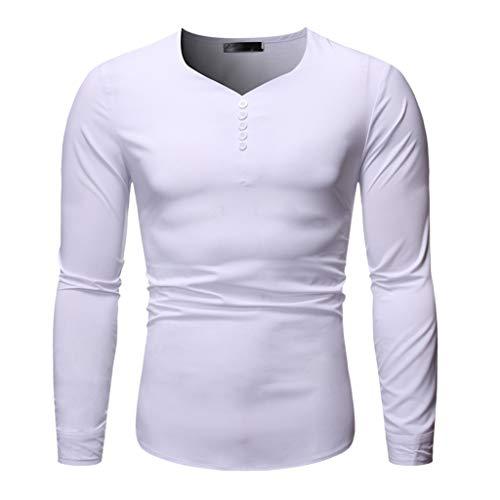 Dwevkeful Herren Freizeit Blusen Herbst Poloshirt T-Shirt Lang LangäRmlige Fitness Top Bluse Und Winter Casual Regular Fit Slim Einfach -