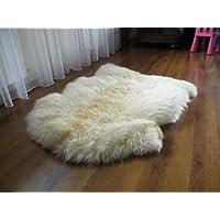 Biggest Sheepskin Rug   Genuine   Thick Wool   Creamy White (Large: 130-140 cm)