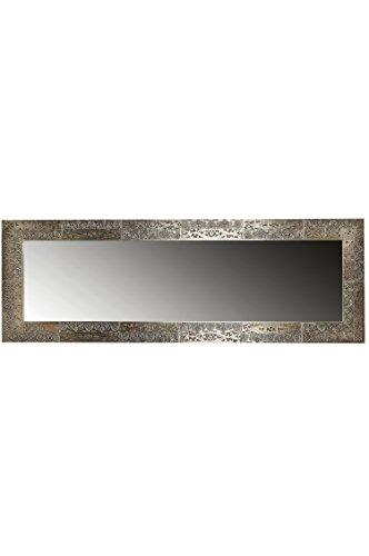 Orient Spiegel Wandspiegel Sivia 150cm groß Silber   Großer Marokkanischer Flurspiegel mit Holzrahmen Orientalisch Verziert   Orientalischer Vintage