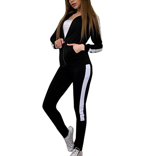 Sllowwa Damen Sportanzug Traingsanzug Jogginganzug Casual Streifen Langarm Reißverschluss Pullover Sport Tops + Long Pants Set S-XL(Schwarz,M)