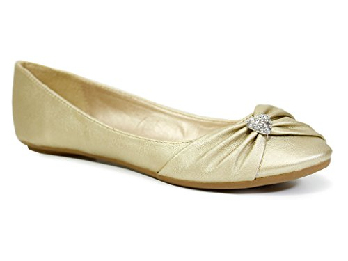 NEW WOMENS LADIES GIRLS FLAT BALLET BALLERINA PUMPS WEDDING DIAMANTE PLAIN WORK SCHOOL DOLLY GOLD SHOES SIZE 6
