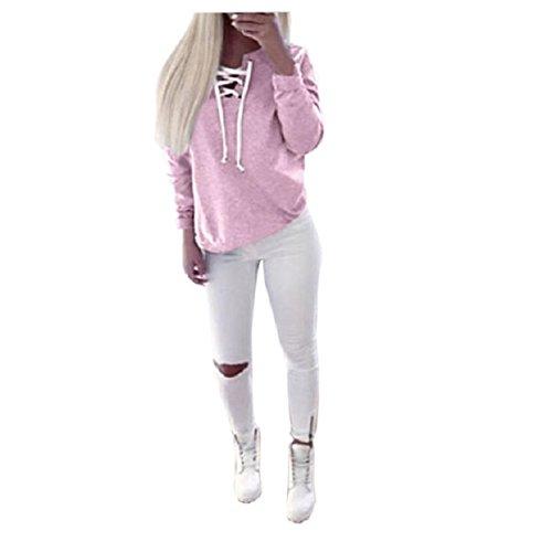 OVERDOSE Damen Herbst Langarm-Pullover Lace-up Tops Blusen-beiläufige Sport-T-Shirt (S, Rosa) -