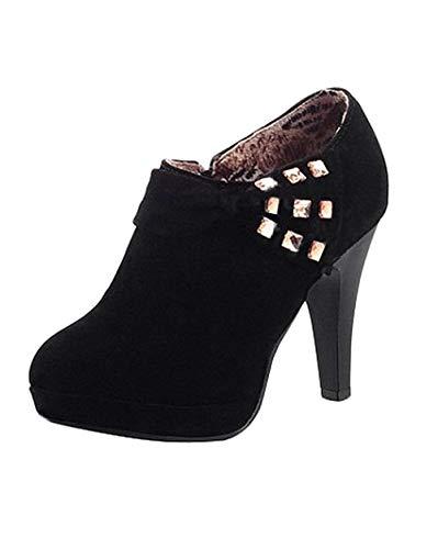 Minetom Damen Klassisch Vintage Schuhe Pumps High Heels Ankle Boots Brautschuhe Party mit Schleife Strass Schwarz EU 35 -