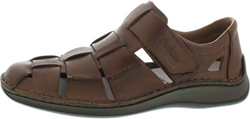 Rieker Bond Mens Wide-Fit Fischer Freizeitschuh 46 Toffee Brown - Extra Breite Leder-sandalen
