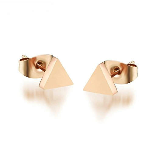 Onefeart Stainless Steel Perforation Earrings by Ladies Rose Gold Triangle Shape Geometric Figure