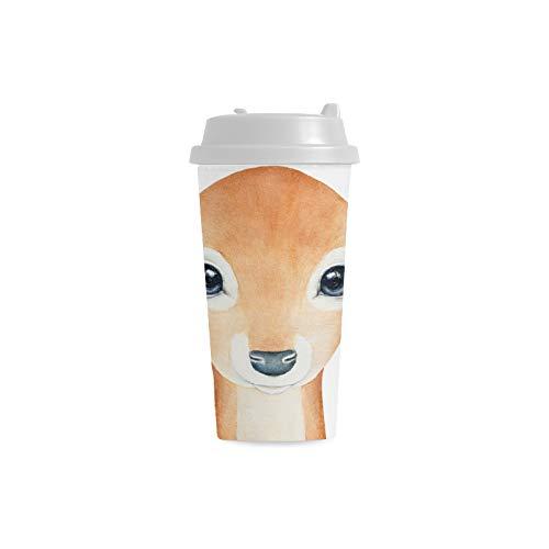 ig Brown Kind Rotwild Gewohnheit personalisierter Druck 16 Unze Doppelwand Plastikisolierte Sportwasser Flaschen Schalen Pendler Reise Kaffeetassen für Studenten Frauen Teetasse ()