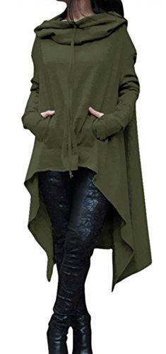 Blansdi Damen Winter Herbst Unregelmäßige Lose Lang Kapuzenpullover Kleider Oversize Langarm Hoodie Sweater Sweatshirt Tops Casual Pullover Oberteile Grün
