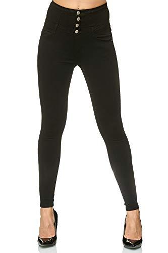 Elara Damen Stretch Hose | High Waist Jeans| Skinny Jegging | hoher Bund | Slim Fit | Chunkyrayan H601-1 Black 38