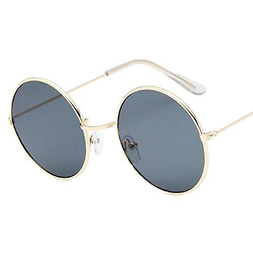 Taiyangcheng Vintage Runde Sonnenbrille Frauen Ozean Farbe Objektiv Spiegel Sonnenbrille Weiblichen Metallrahmen Kreis Gläser,Grau
