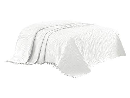 Class Home Collection Pique Tagesdecke Bettüberwurf mit Fransen 220x240 cm Uni Weiß - Tagesdecke Mit