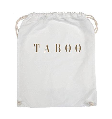 Comedy Bags - TABOO - LOGO - Turnbeutel - 37x46cm - Farbe: Schwarz / Silber Weiss / Hellbraun